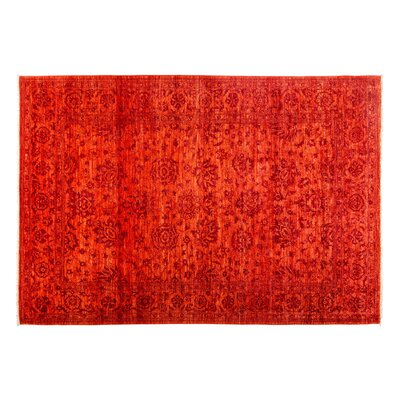 One-of-a-Kind Eclectic Hand-Knotted Orange Area Rug