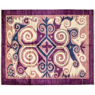 One-of-a-Kind Kaitag Hand-Knotted Purple Area Rug