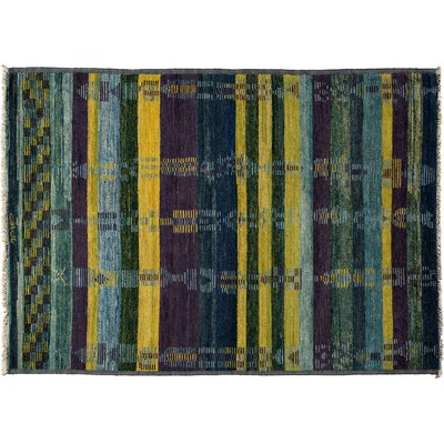 Kaitag Hand-Knotted Blue Area Rug