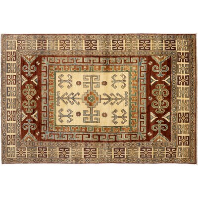 Kazak Hand-Knotted Ivory/Brown Area Rug