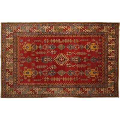 Kazak Hand-Knotted Red Area Rug M1674-424