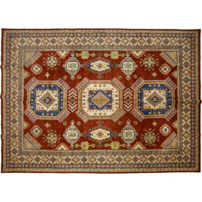 Kazak Hand-Knotted Red Area Rug M1754-122