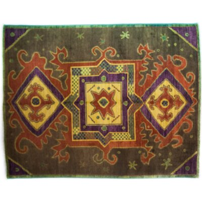 Kaitag Hand-Knotted Brown/Yellow Area Rug