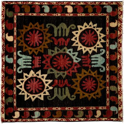 Kaitag Hand-Knotted Black/Red Area Rug
