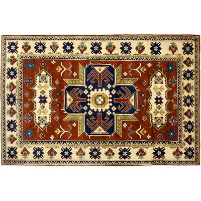 Kazak Hand-Knotted Red Area Rug M1807-11