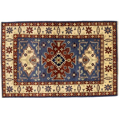 One-of-a-Kind Kazak Hand-Knotted Blue Area Rug