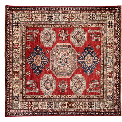 One-of-a-Kind Kazak Hand-Knotted Red Area Rug