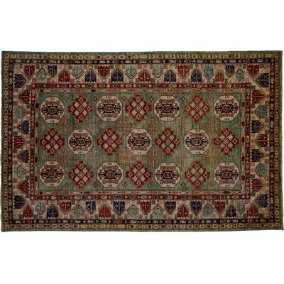 One-of-a-Kind Kazak Hand-Knotted Green Area Rug