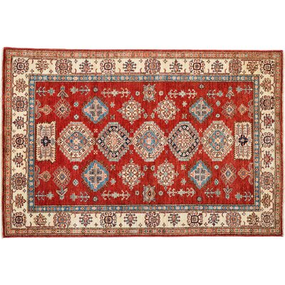 Kazak Hand-Knotted Red Area Rug