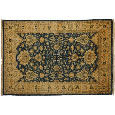 One-of-a-Kind Ottoman Hand-Knotted Blue Area Rug
