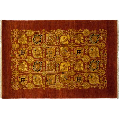 One-of-a-Kind Ottoman Hand-Knotted Red Area Rug