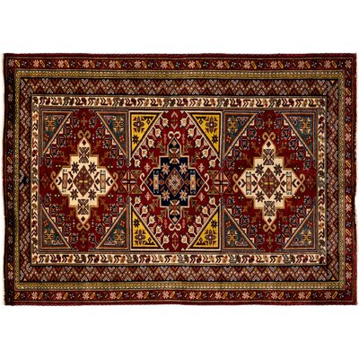 Kazak Hand-Knotted Brown Area Rug