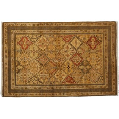One-of-a-Kind Ottoman Hand-Knotted Yellow Area Rug