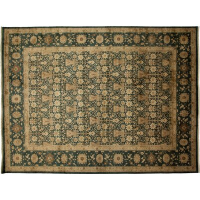 Ottoman Hand-Knotted Green Area Rug