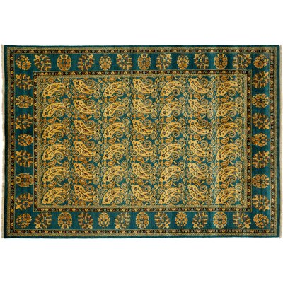 One-of-a-Kind Ottoman Hand-Knotted Green Area Rug