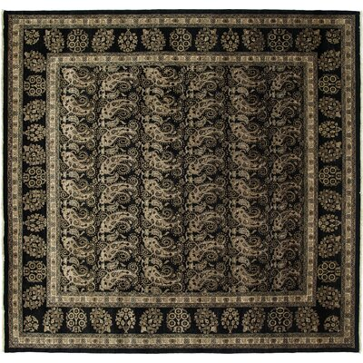 Ottoman Hand-Knotted Black Area Rug