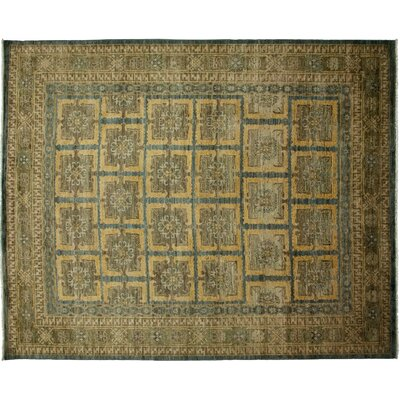One-of-a-Kind Khotan Hand-Knotted Yellow Area Rug