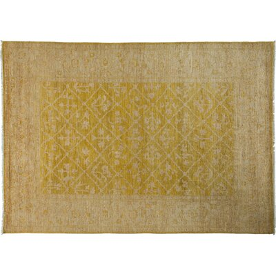 Oushak Hand-Knotted Yellow Area Rug Rug Size: 64 x 9