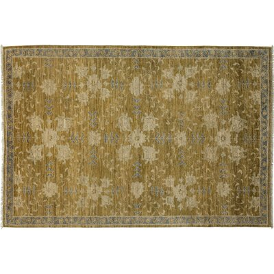 Oushak Hand-Knotted Green Area Rug Rug Size: 55 x 710