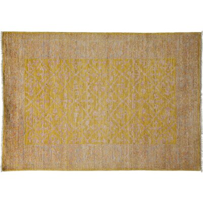 Oushak Hand-Knotted Yellow Area Rug Rug Size: 42 x 510
