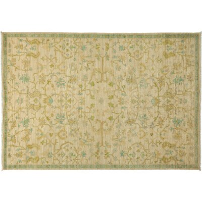 One-of-a-Kind Oushak Hand-Knotted Ivory Area Rug Rug Size: Rectangle 63 x 9
