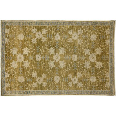 One-of-a-Kind Oushak Hand-Knotted Green Area Rug Rug Size: Rectangle 53 x 710