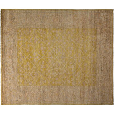 Oushak Hand-Knotted Yellow Area Rug Rug Size: 84 x 910