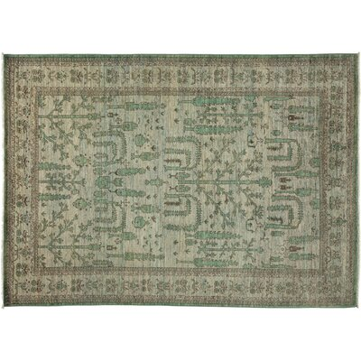 One-of-a-Kind Oushak Hand-Knotted Green Area Rug