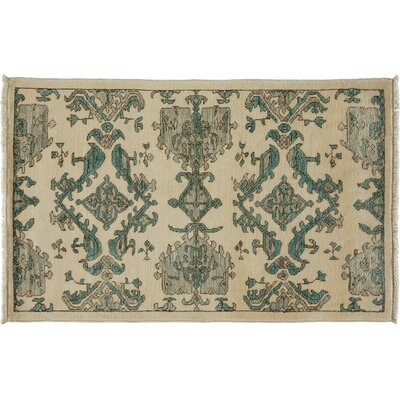 One-of-a-Kind Oushak Hand-Knotted Ivory Area Rug Rug Size: Rectangle 29 x 43