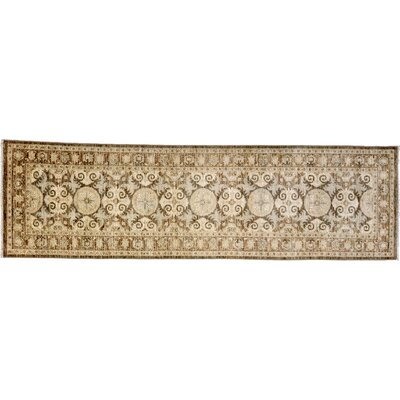 Oushak Hand-Knotted Brown Area Rug Rug Size: Runner 3 x 103