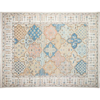 One-of-a-Kind Oushak Hand-Knotted Ivory/Blue Area Rug