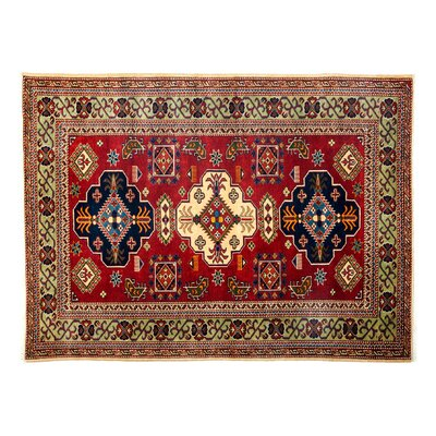 Shirvan Hand-Knotted Red Area Rug Rug Size: 44 x 58