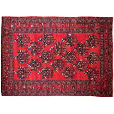 Tribal Hand-Knotted Red Area Rug