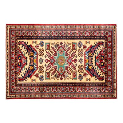 Shirvan Hand-Knotted Red Area Rug Rug Size: 43 x  63