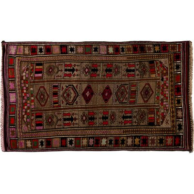 One-of-a-Kind Tribal Hand-Knotted Brown Area Rug