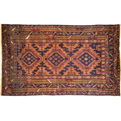 One-of-a-Kind Tribal Hand-Knotted Orange Area Rug