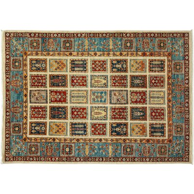 Tribal Hand-Knotted Beige/Blue Area Rug