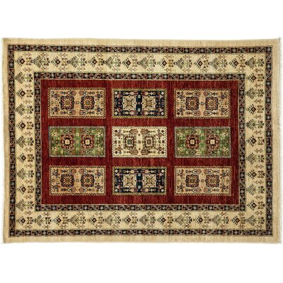 One-of-a-Kind Tribal Hand-Knotted Ivory Area Rug