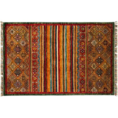 Tribal Hand-Knotted Red/Green Area Rug