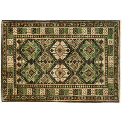 One-of-a-Kind Tribal Hand-Knotted Green Area Rug