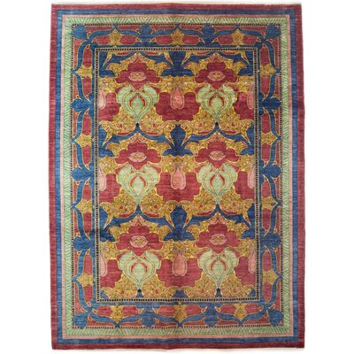Arts and Crafts Hand-Knotted Blue/Yellow Area Rug Rug Size: 81 x 99