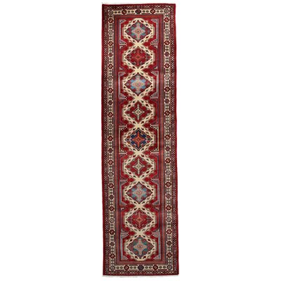 One-of-a-Kind Shirvan Hand-Knotted Red Area Rug Rug Size: Runner 28 x 91