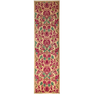 Arts and Crafts Hand-Knotted Pink Area Rug Rug Size: Runner 29 x 98