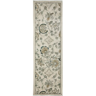 One-of-a-Kind Oushak Hand-Knotted Ivory Area Rug Rug Size: Runner 26 x 81
