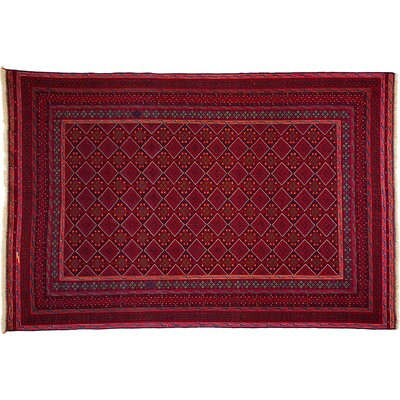 Barjasta Hand-Knotted Red Area Rug
