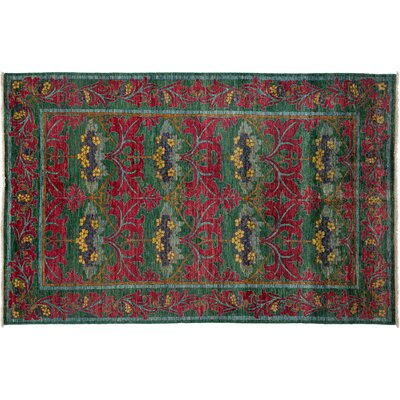 One-of-a-Kind Arts & Crafts Hand-Knotted Red/Green Area Rug