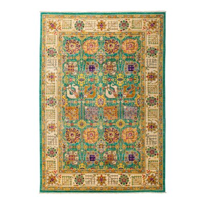 One-of-a-Kind Eclectic Vivid Hand-Knotted Multicolor Area Rug Rug Size: Rectangle 62 x 810