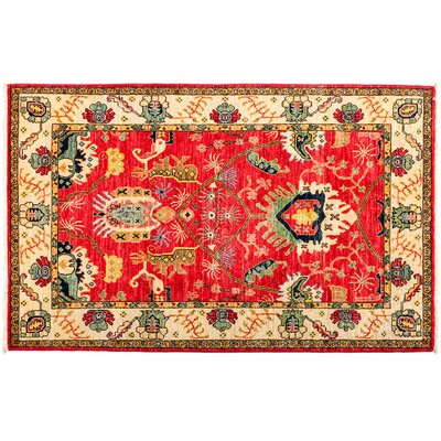 One-of-a-Kind Eclectic Vivid Hand-Knotted Red Area Rug Rug Size: Rectangle 4 x 63