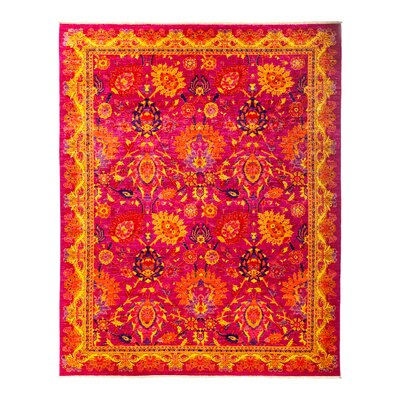 One-of-a-Kind Eclectic Vivid Hand-Knotted Pink Area Rug