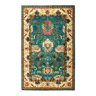 One-of-a-Kind Eclectic Vivid Hand-Knotted Blue Area Rug